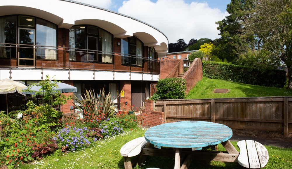 Exterior building and gardens at Cadogan Court, Exeter.