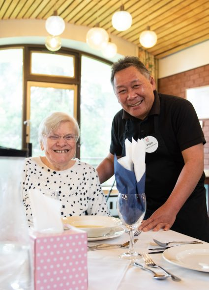 Resident and catering staff member at Cadogan Court, Exeter.
