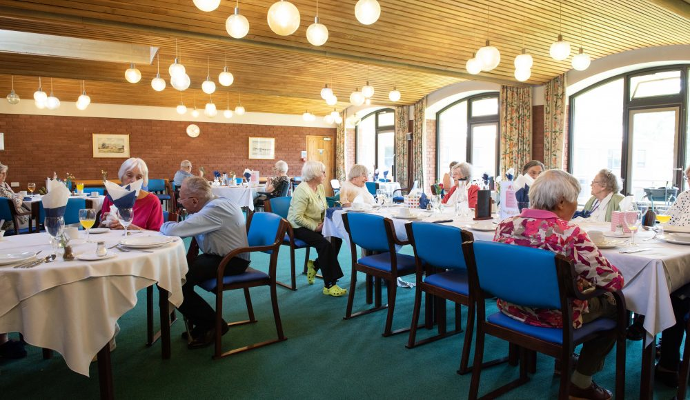 Residents dining at Cadogan Court, Exeter.