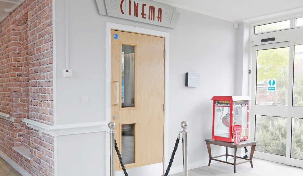 Entrance to cinema room at Devonshire Court