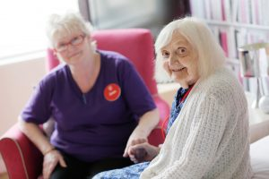 Devonshire Court carer Jean and resident Lydia