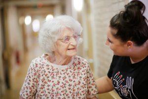 Resident Edna and carer Deni at Ecclesholme