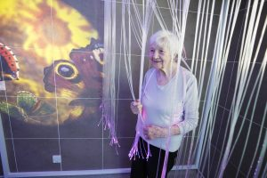 Resident Gladys in James Terry Court's sensory room