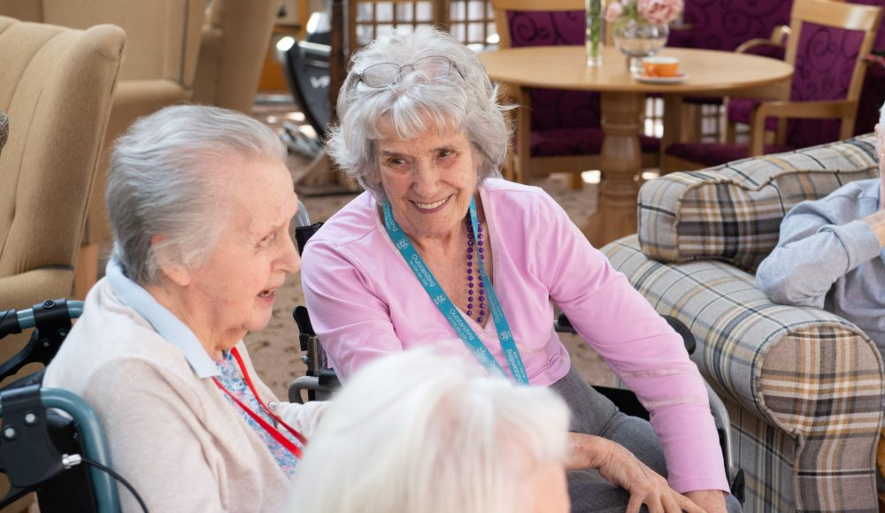 Residents socialising at Prince Michael of Kent Court