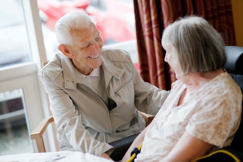 Resident and staff member at Scarbrough Court