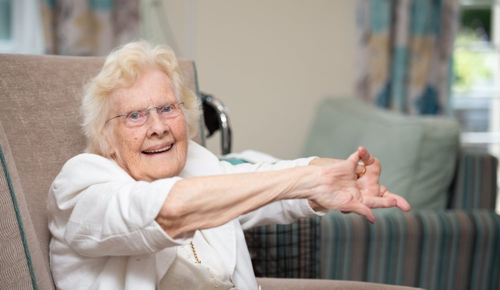 Resident during keep fit class at Shannon Court