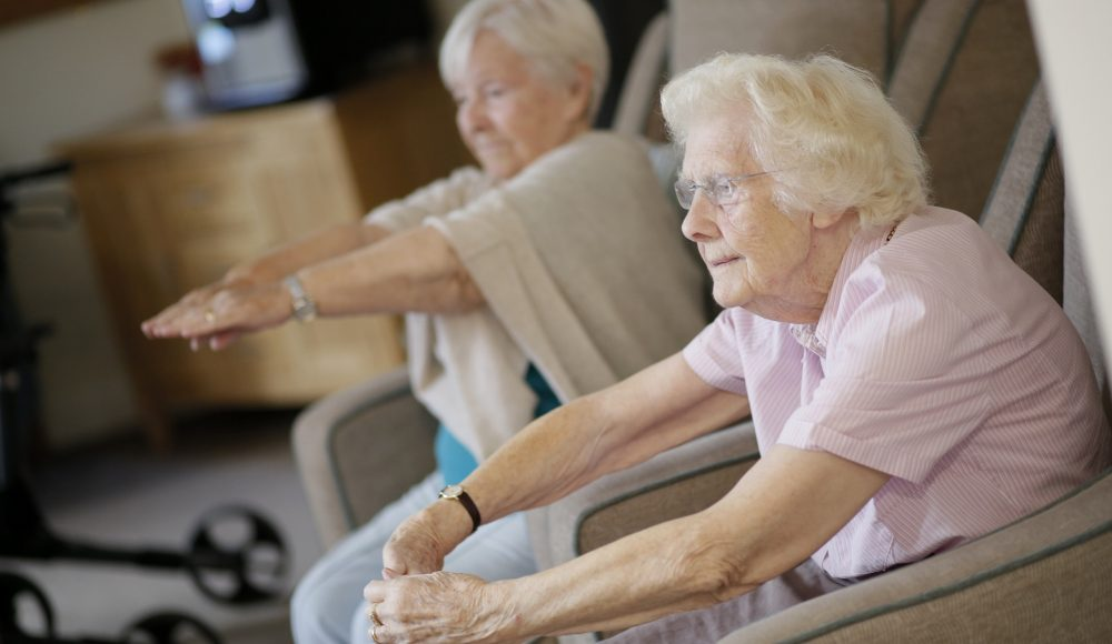 Residents doing gentle exercise at Shannon Court