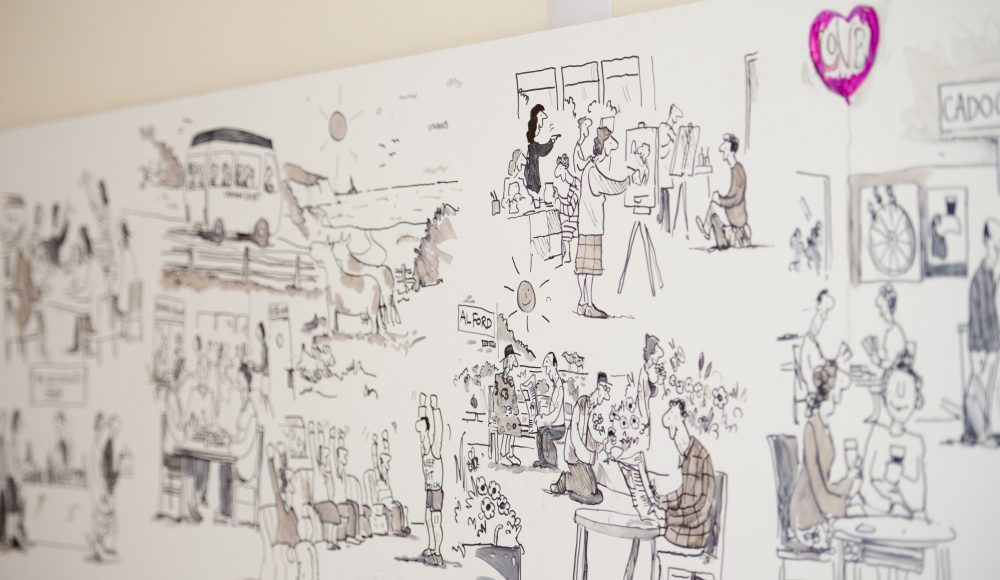 Mural of residents created by cartoonist Tony Husband