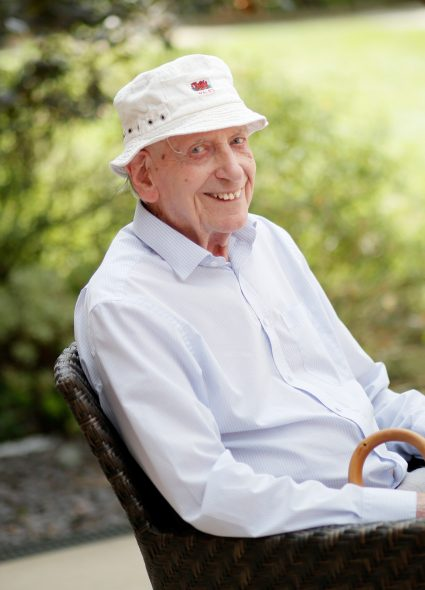 Resident enjoying the gardens at Ecclesholme