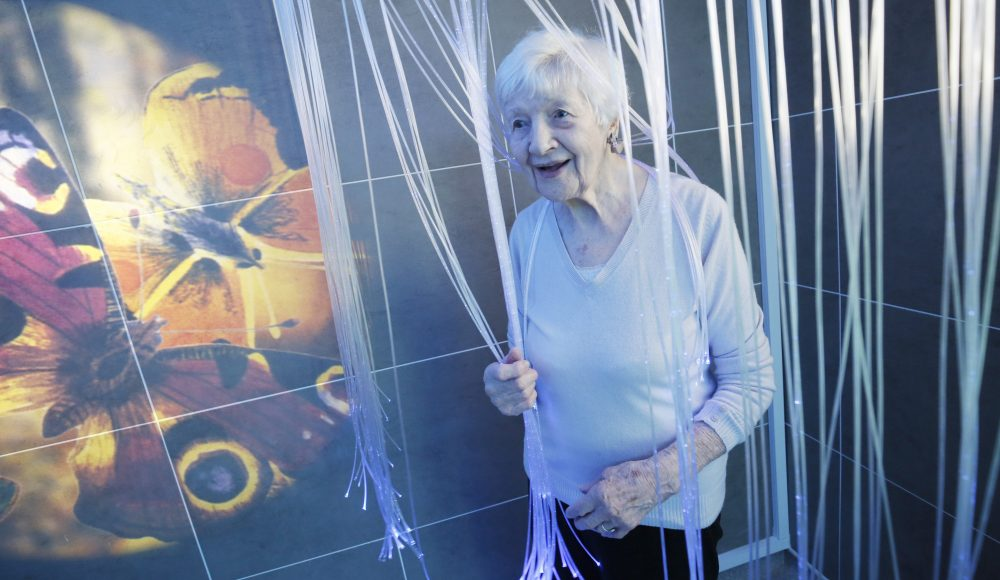 Resident in the sensory room at James Terry Court