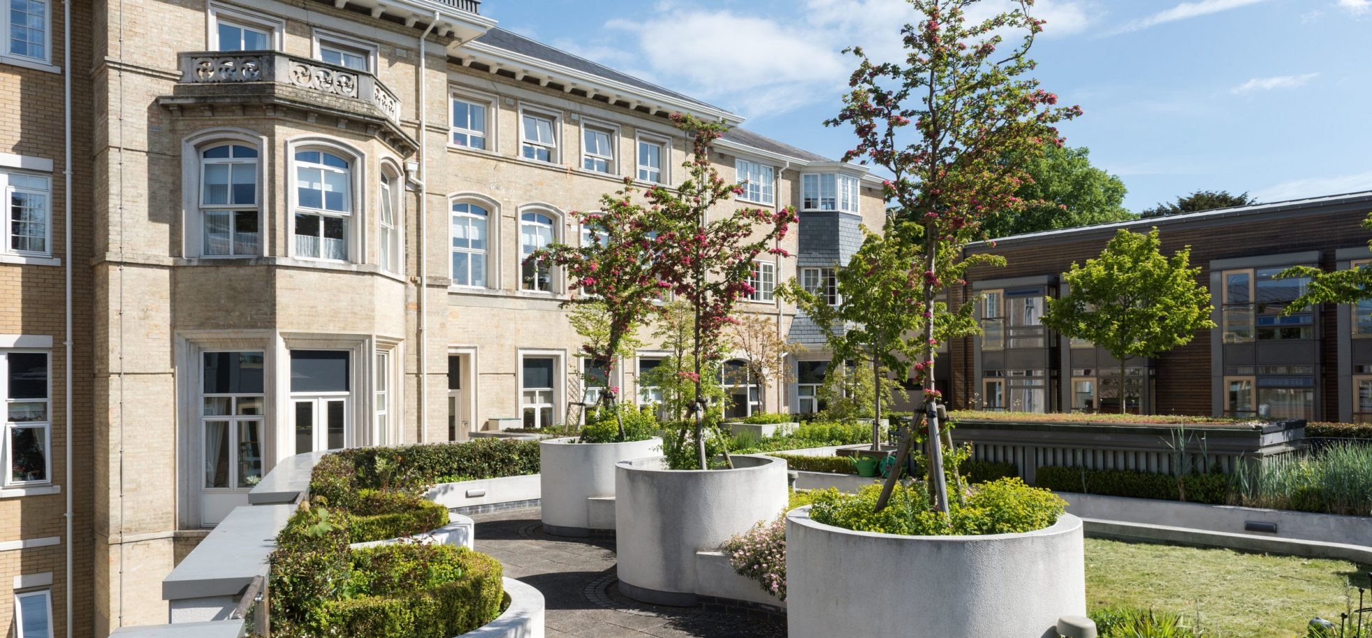 Front building and gardens at James Terry Court
