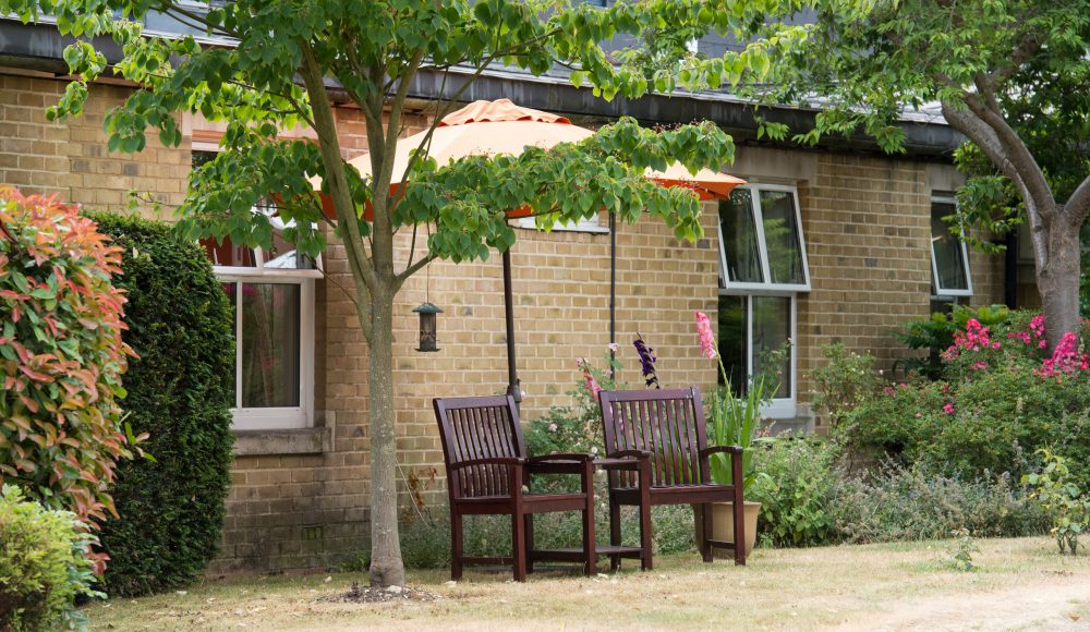 Outdoor seating at Prince Michael of Kent Court