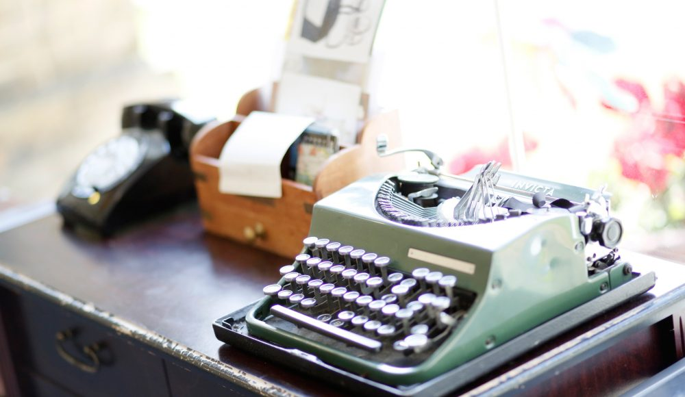 Typewriter and accessories at Prince Edward Duke of Kent Court