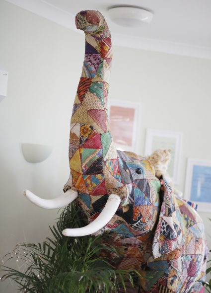 Crafted elephant statue at Shannon Court