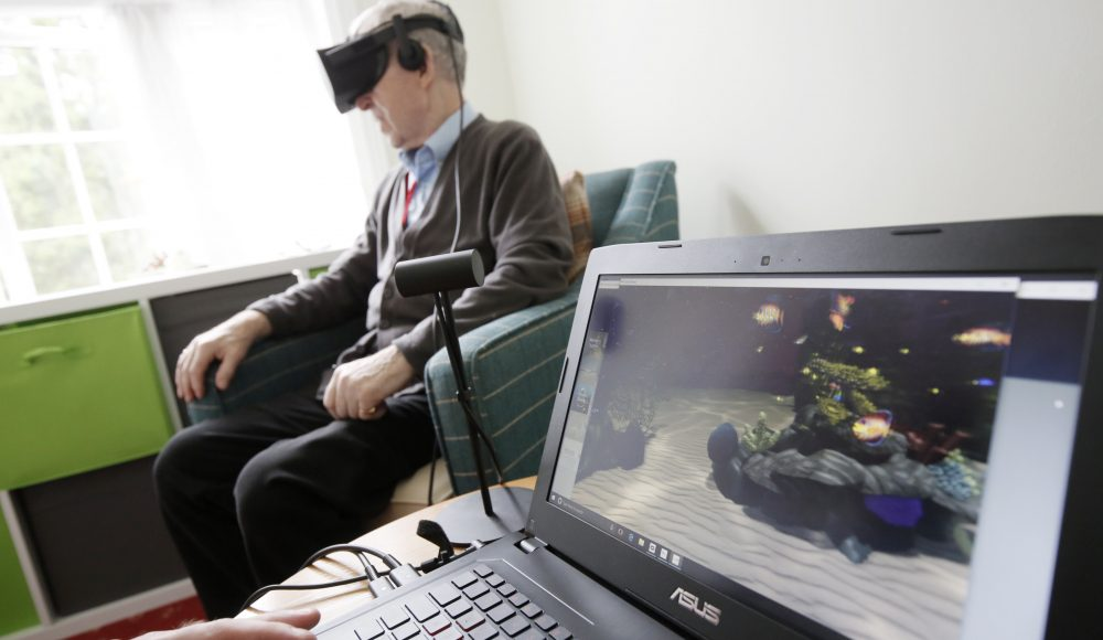 Resident using virtual reality technology at Shannon Court