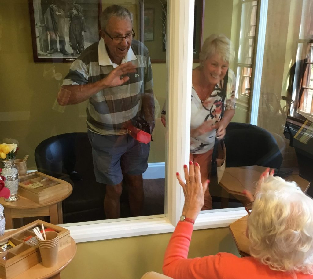 Residents reunite in visitors' pod at Barford Court