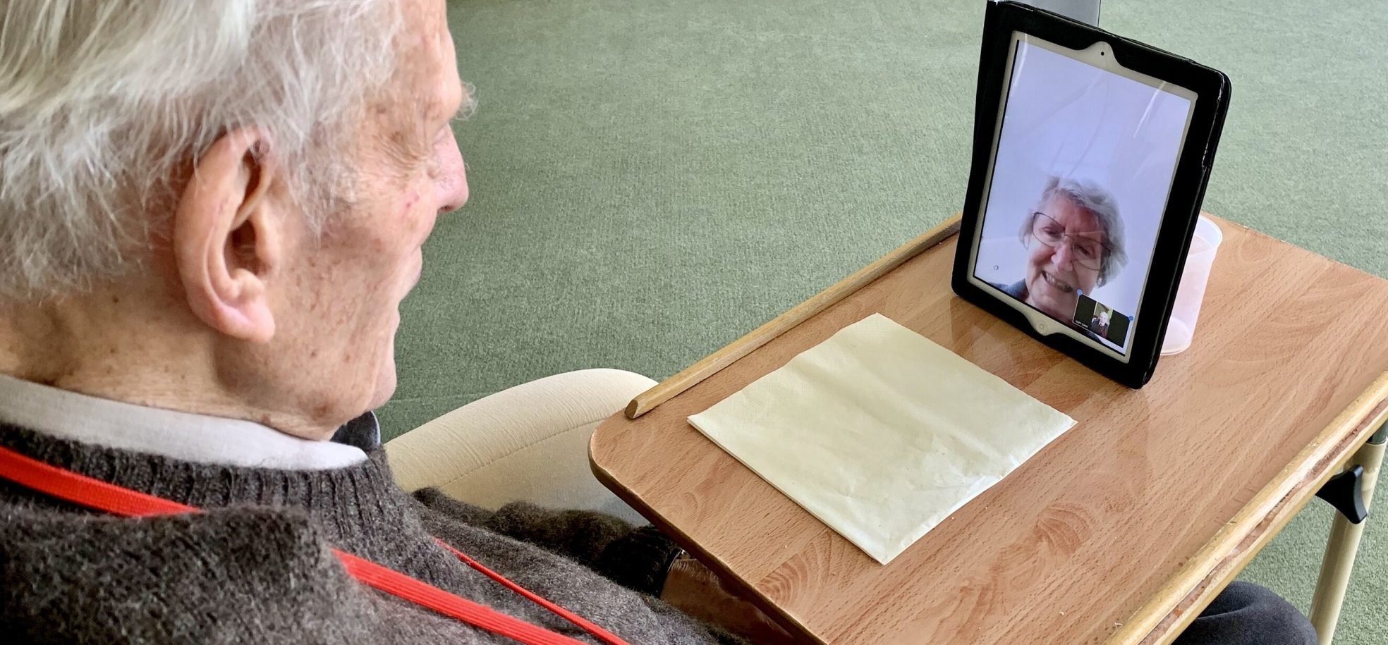 Resident video calls his wife at Queen Elizabeth Court