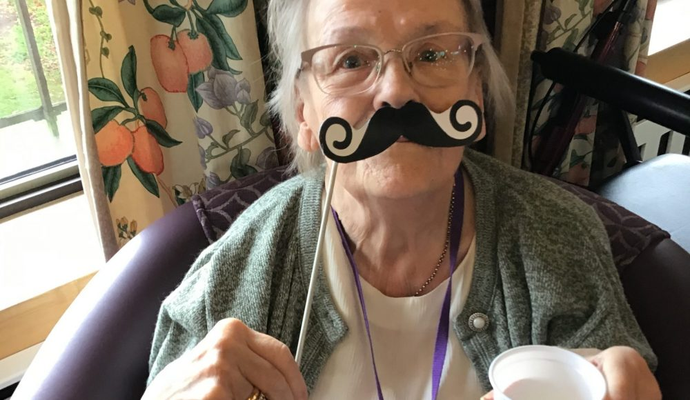 Cadogan Court resident Cynthia Noakes supporting Movember