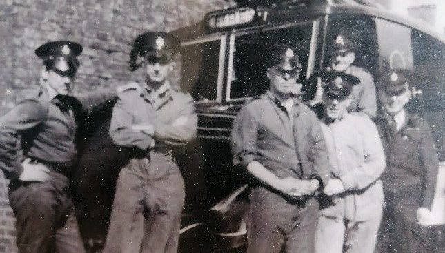 Scarbrough Court resident and WWII veteran Joe Dixon, as a young man with his fire service colleagues