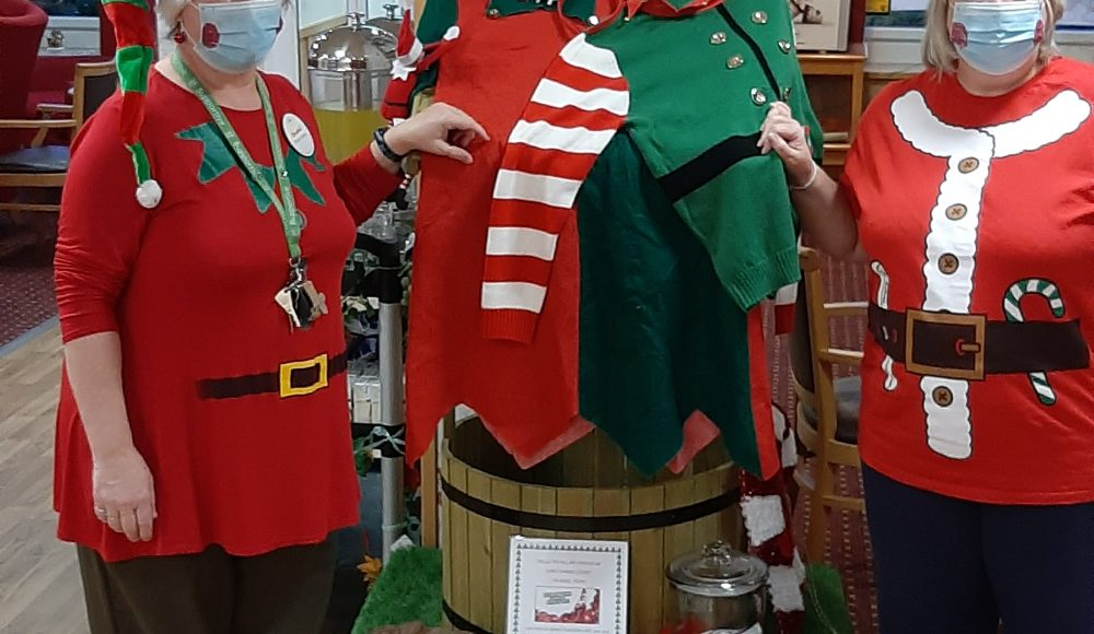 Deane and Tracey at Lord Harris Court dressed up as Elves