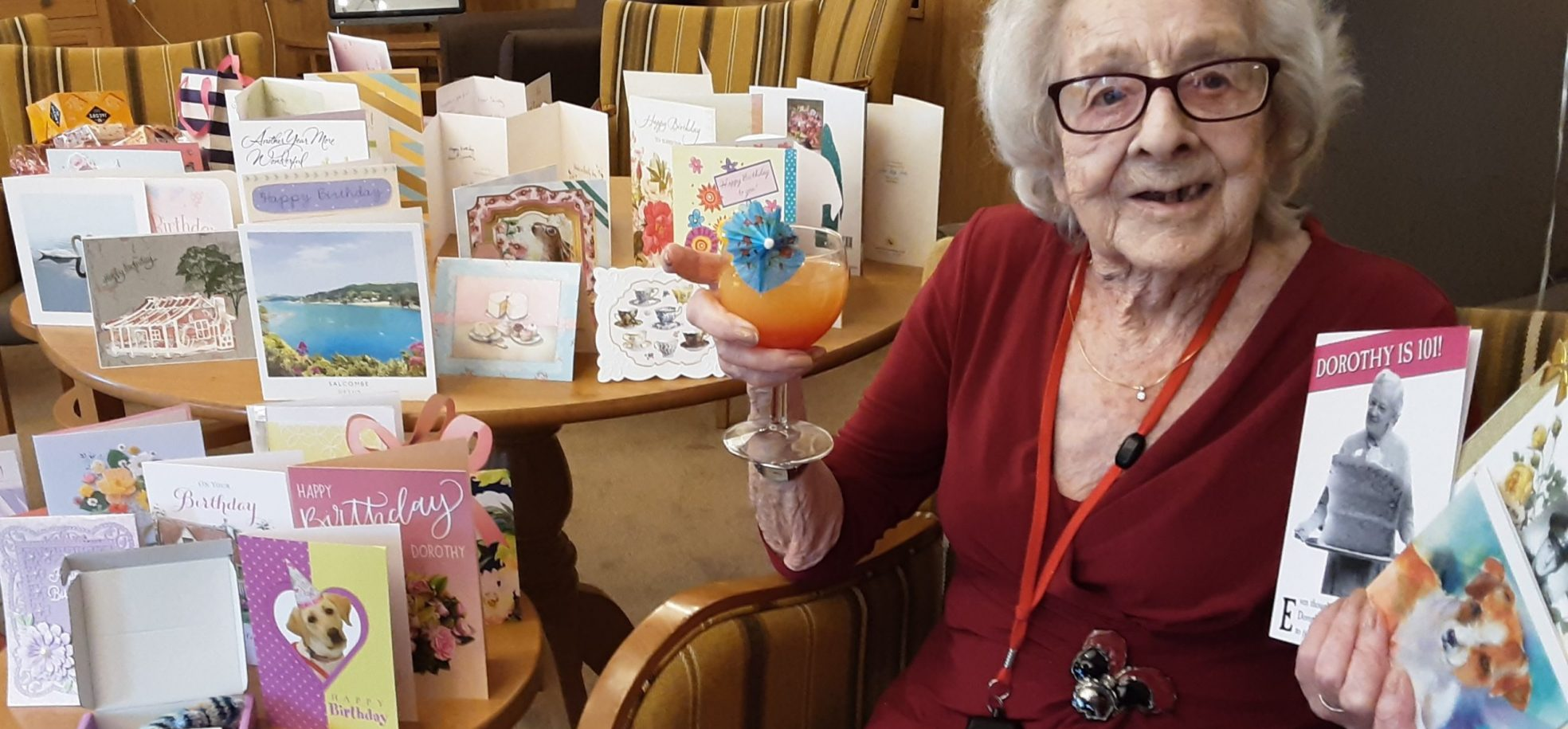 Cornwallis Court resident, Dorothy Crane, celebrates her 101st birthday at the Home with 101 birthday cards from family and friends