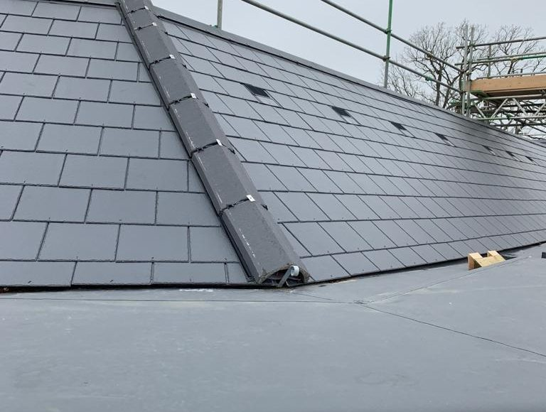 Section of roof nearing completion