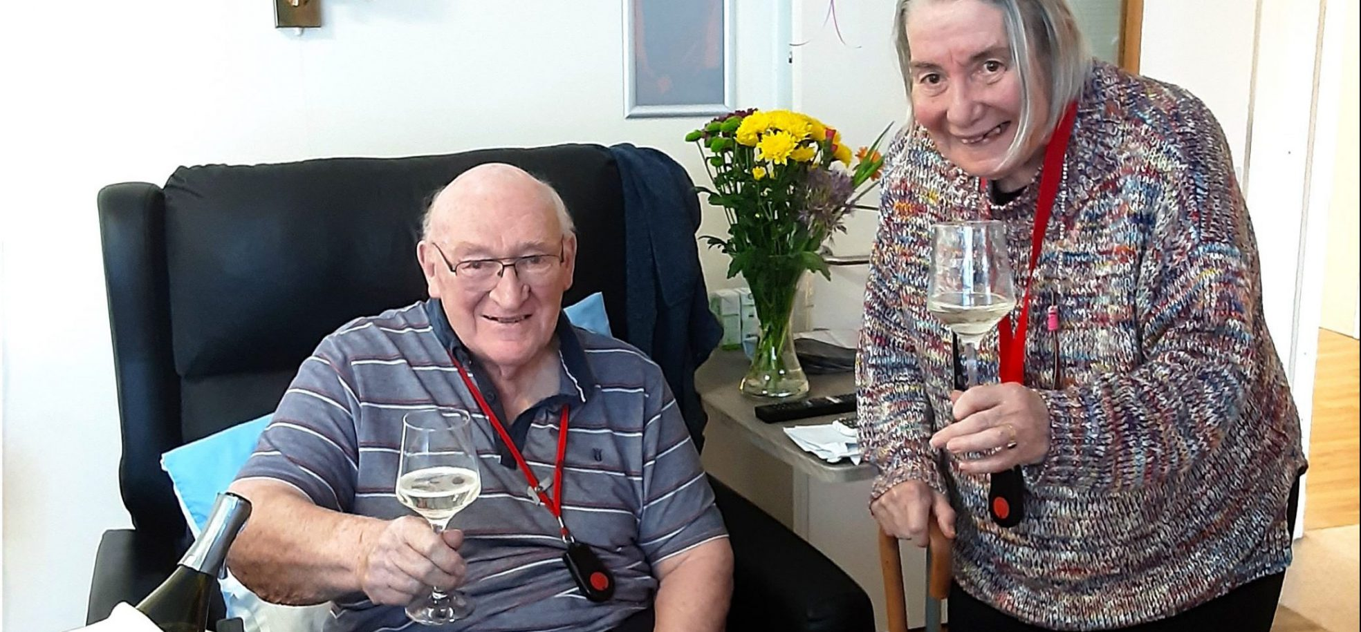 Residents Arthur (Ron) and Francine Twitchett celebrate their long-awaited reunion at RMBI Home Lord Harris Court, in Berkshire