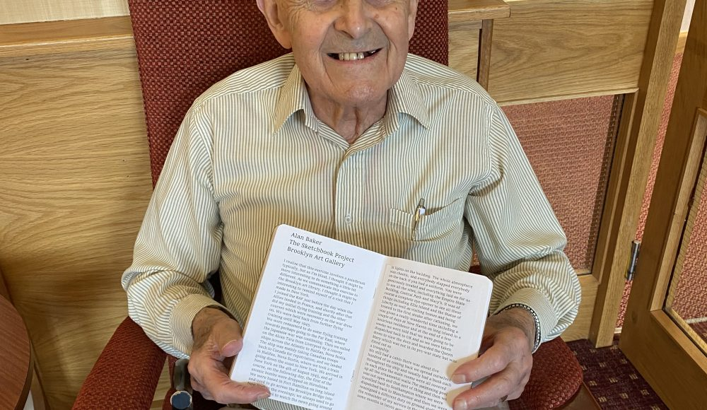 Resident Alan Baker aged 95, with his Storytelling and drawings about his visit to New York during the Second World War, when he was serving in the RAF