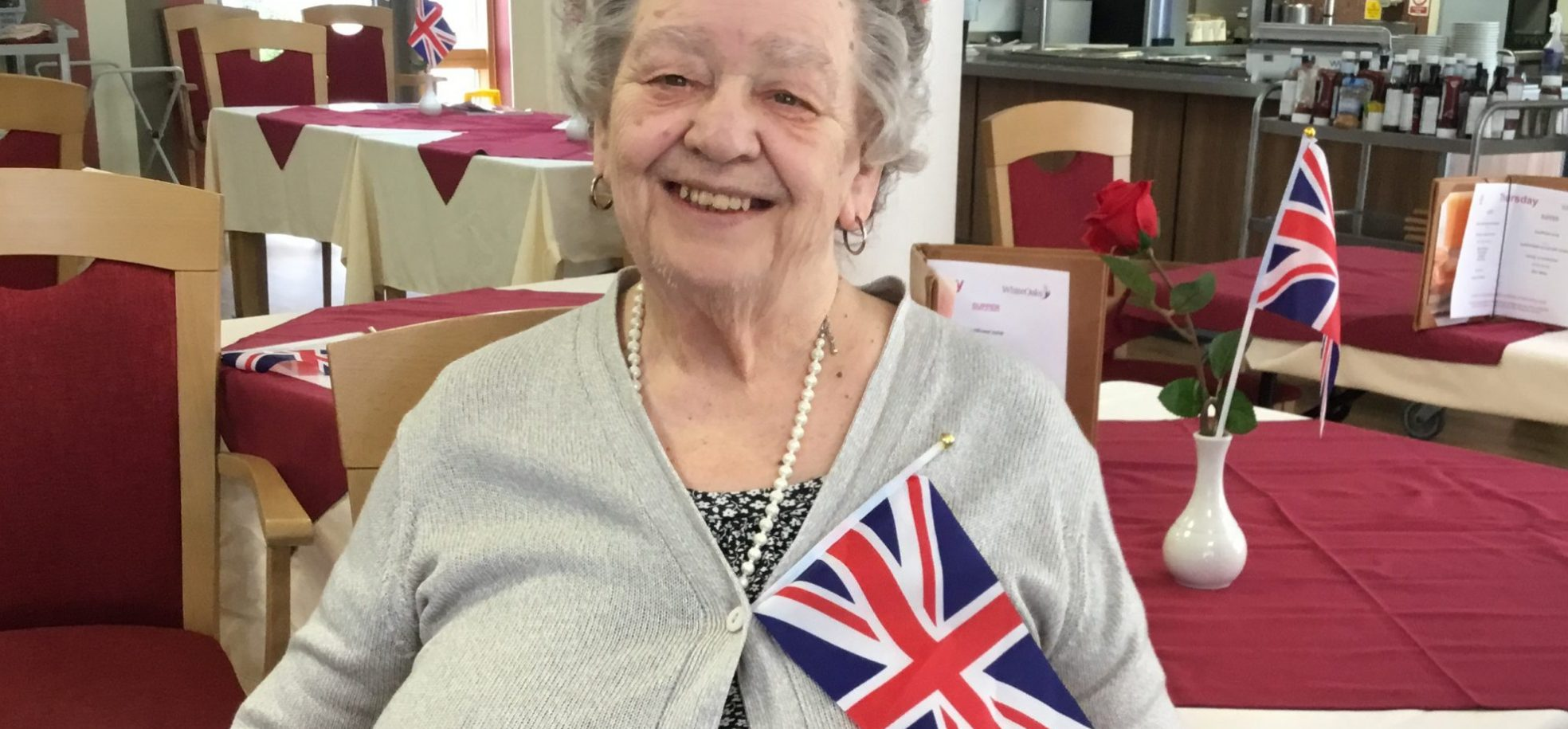 Resident Eve Dacey at James Terry Court in Croydon on VE Day