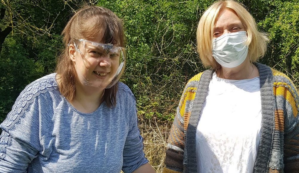 Resident Laura Turner from RMBI Home Harry Priestley House, in Thorne, enjoys a walk in the park with her mum Lesley Booth
