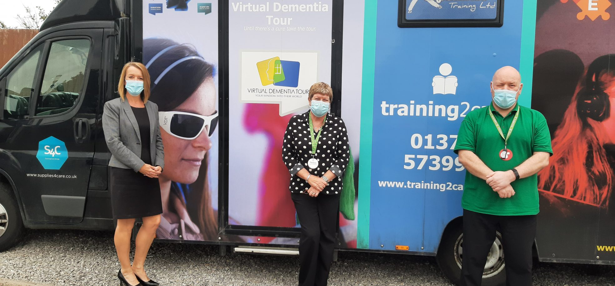 Home Manager Alison Aberdeen, Deputy Home Manager Teresa Picton and Home Trainer Ian Morgan with the Dementia Bus