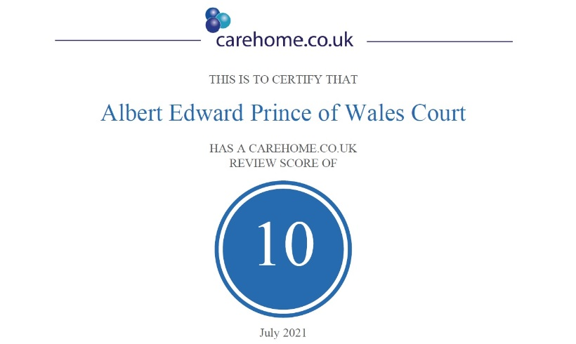 Albert Edward Prince of Wales Court achieves top marks on leading care home review website