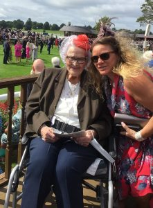 Dorothy with her granddaughter Julia Dixon at York Races