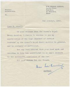 Nina's Wren discharge letter, dated 2nd October 1945.