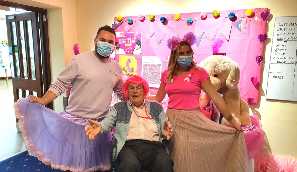 Staff members Karen Casey, Jana Kanova and Sophie Smith 'Wear it Pink' at RMBI Care Co. Home Zetland Court, in Bournemouth