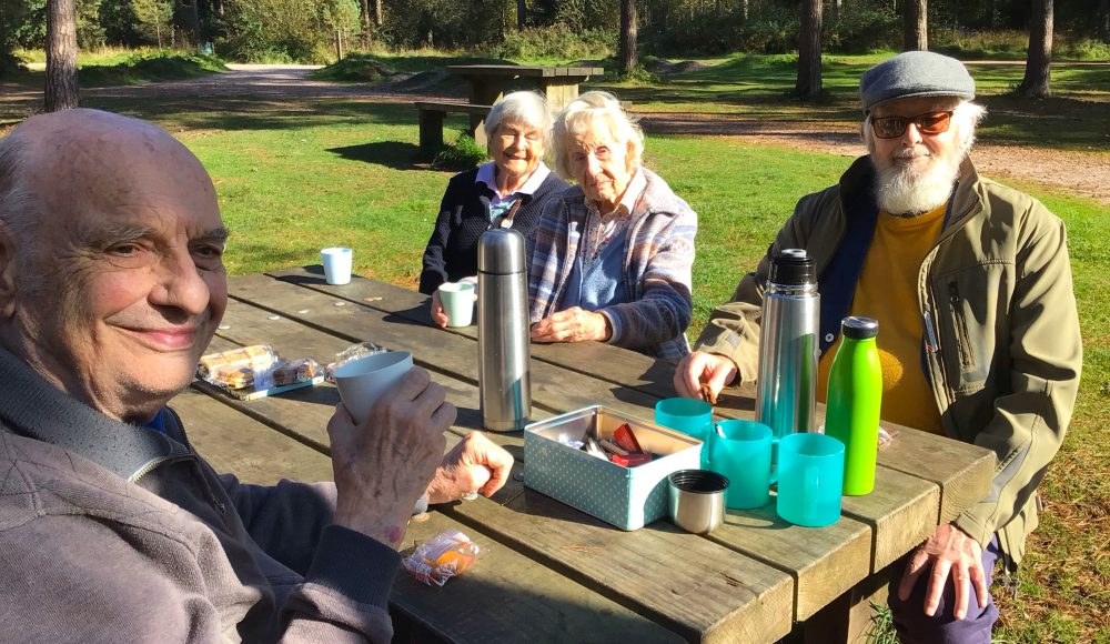 Residents from RMBI Home Cadogan Court, in Exeter, enjoyed a lively chat at the park's picnic benches at Haldon Forest